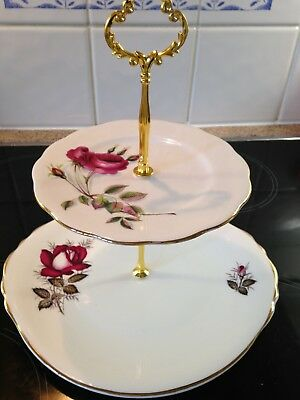 Royal Vale/Richmond  2 tier bone china cake stand - vintage tea - red roses