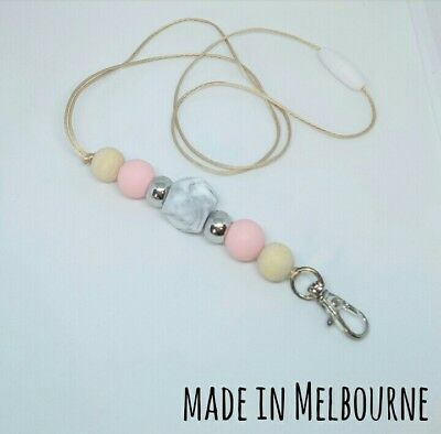 Silicone Beads Lanyard Keyring Chain Safety Clasp Holder ID Pink Marble Teacher