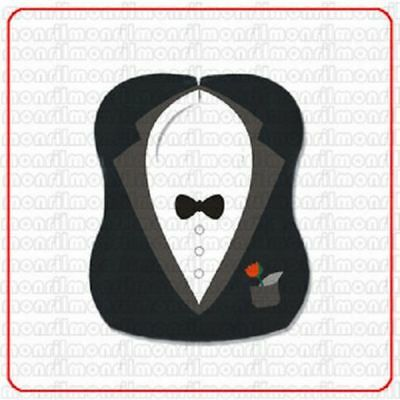 T01 - Little Tuxedo Teething Bib Black Color Embroidery Bib