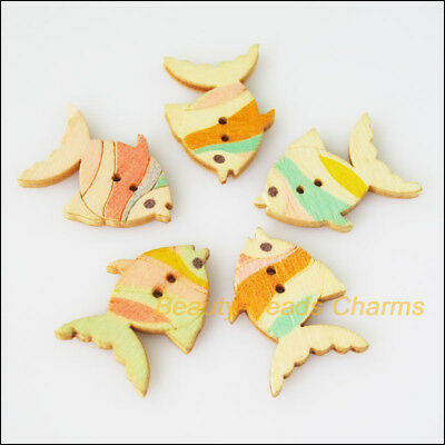 15Pcs Mixed Wooden Animal Fish Buttons Fit Scrapbooking Sewing 19x26mm