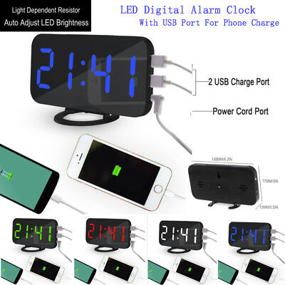 Touch-Activited Snooze LED Digital Alarm Clock Charger With USB Port for Phone