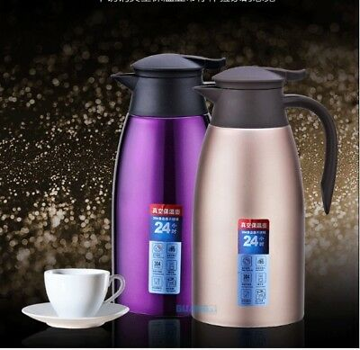 2L Thermal Insulated Carafe Vacuum Thermos Hot Water Coffee Jug Flask Coffee Jug