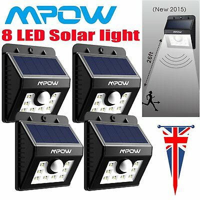 1/2/4 Mpow Outdoor 8 Led Solar Powered Light Motion Sensor Security Wall Lights