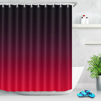 Color Changing Black And Red Shower Curtain Set Waterproof Fabric With 12 Hooks