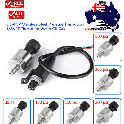 Pressure Transducer or Sender Stainless Steel 0-4.5V For Oil Fuel Air Water NEW