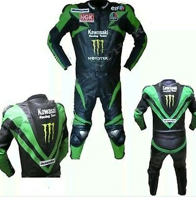 Kawasaki Gree N Black Motorbike Leather Racing Suit.ce Approved Full Protection