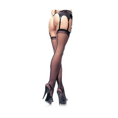 Calze nere velate con riga posteriore STOCKINGS BLACK - Taglia PLUS-SIZE 0010102