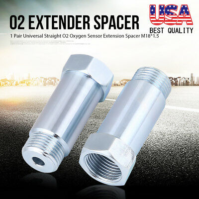New Straight O2 Oxygen Sensor Extension Spacer CEL- M18 x 1.5 (2 pack) Stainless