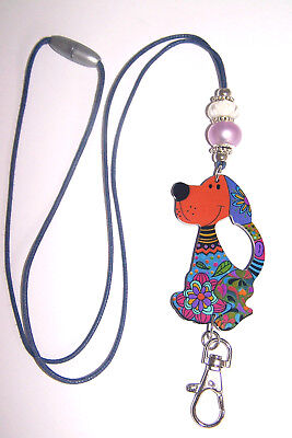 Paisley Dog With Flowers Murano Beaded Lanyard / ID Badge or Cruise Card Holder