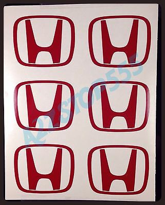 HONDA LOGO DECAL STICKER FOR WHEEL RIM CENTER CAP OEM SIZE/ RED 6 pcs
