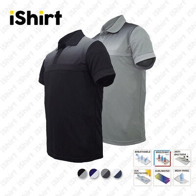 Mens Polo Shirt 100% Polyester Cool Dry Breathable Sublimated Casual Polo