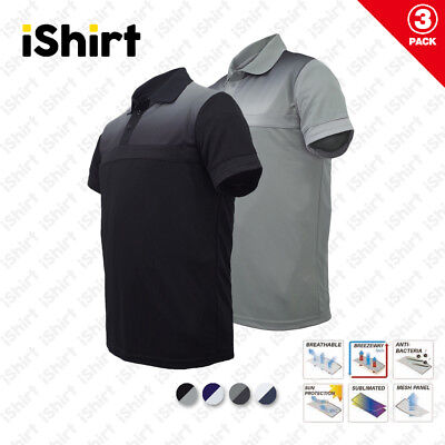 3Pc X Mens Polo Shirt 100% Polyester Cool Dry Breathable Sublimated Casual Polo