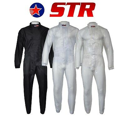 STR Adults Waterproof Wet Weather Driving Rain Suit Circuit Racing Go Kart Black