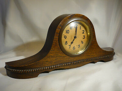 Vintage Small German Art Deco Napoleon Hat Oak Case Mantle Clock Spare/Repairs