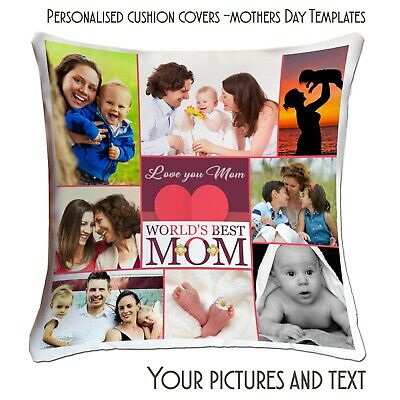 Personalised Photo Cushion Covers Single,Collage Both Side Printed Mothers Day ❤