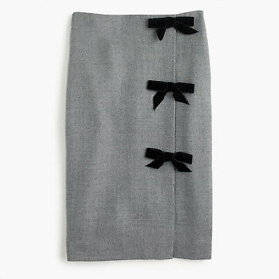 $148 NWT J.Crew Bow seam pencil skirt in double-serge wool H3499 SZ 2 4 6 8 10