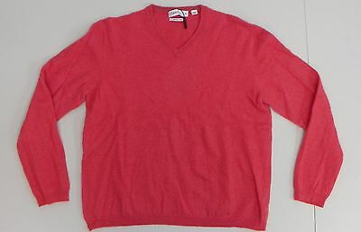 Calvin Klein Youth Shirt Extra Fine Merino Wool V Neck Pink Sweater XL AD154