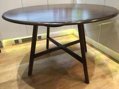 Vintage Ercol Drop Leaf Table Windsor Kitchen Dining Oval Dark