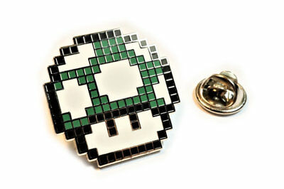 Super Mario World Bros GREEN MUSHROOM Retro SNES NES Tie Tack Lapel Pin