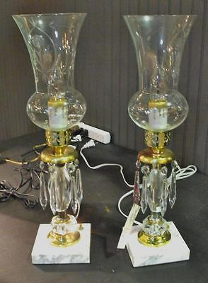 Antique Pair of Vanity or Dresser Lamps w/ Glass Globes & Crystals Nice!