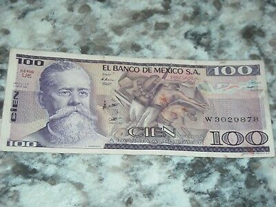 1981  Mexican Cien  Paper Money Banknote Vintage