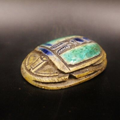 Rare Ancient Egyptian Stone Scarab Beetle Amulet Figurine, Late Period 664-323