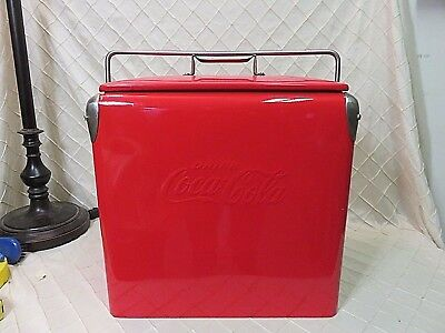 Vintage Coca Cola Cooler w/ Tray Partly Restored Beauty Piece Coke Red