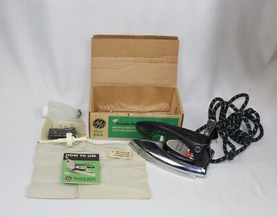 Vintage NOS 1950's GE World Wide Travel Iron w/ Box, etc. F49 General Electric