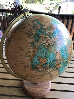 """Vintage Cram's World Globe Imperial 16"""" Tall Made In USA Geography"""
