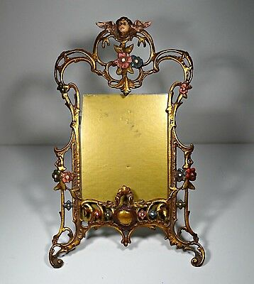 1900s Antique Art Nouveau Brass Picture Frame Whit Angel VERY RARE