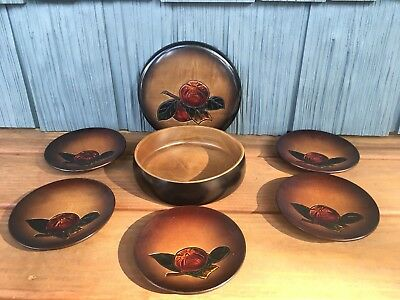 Vtg Set Of Japanese Hand Painted Tea Ceremony Wooden Plates In Wood Box