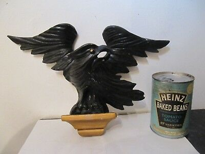 Vintage Wooden Treen Painted Decorative Eagle Bird Clock Top Finale