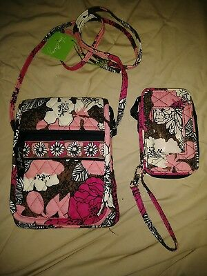Vera Bradley mini hipster in Mocha Rouge with matching all in one wallet