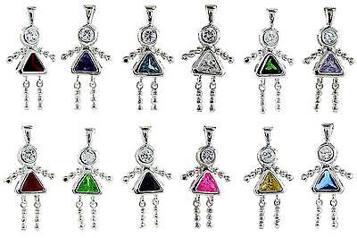 Sterling Silver Birthstone Baby Girl Pendant Charm w/ Colored Cubic Zirconia