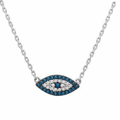 Sterling Silver Necklace w/ Turquoise & CZ Stones Evil Eye Pendant