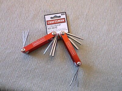 Craftsman (2) 7-in-1 Piece Fold-Up Hex Key Set Red, Standard & Metric, Brand NEW