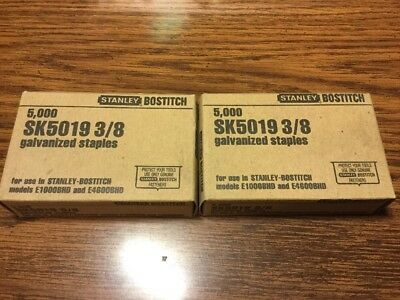 "Stanley Bostitch SK5019 3/8"" Galvanized Staples Made In USA Two 5000 Count Boxes"