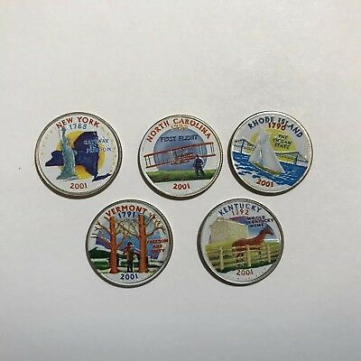 2001 Complete Set Of Colorized State Quarters - D Mint (5 Coins)