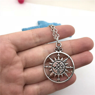 Compass Charm Necklace Charms Jewelry Tibet silver Pendant Chain Necklace