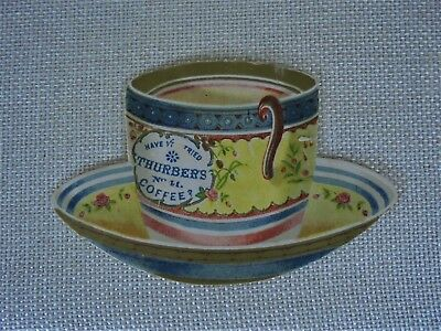 Antique Lithographed Victorian Trade Card Cup And Saucer Shape Thurbers Coffee