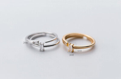 925 Sterling Silver Simple Square Thin Dainty Stacking Adjustable Ring A3090
