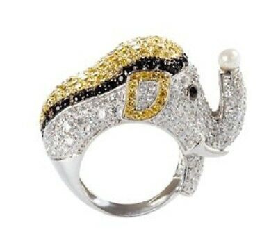 Unique Antique Effy Elephant Ring white 925 Sterling Silver with Cubic Zirconia