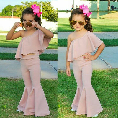 US Canis Baby Kids Girl One shoulder Ruffle Top Bell Casual Long Pants Outfits