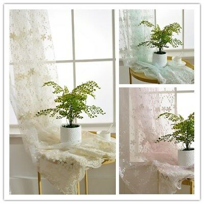 """Embroidery Beige Pink Sheer Curtain Voile Flower Lace Window Drapes 63/84"""" Tulle"""