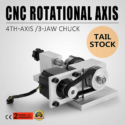 4th Axis Router Rotational Axis 3 Chuck w/ TailStock for CNC Engraving Machine