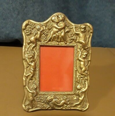 Vintage Ornate Small Sweet Putti Cherub  Brass Photo Picture Frame 2.5X 2