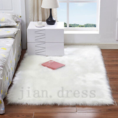 Warm Balcony Faux Fur Area Rug Fluffy Sheepskin Mat Pad BedRoom Floor Carpet Rug