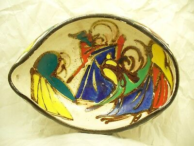 Colorful Antique Japanese Stoneware Bowl with Unusual Shape