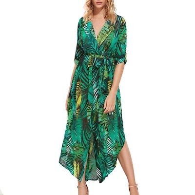 9cb5986216a2a CHIFFON BEACH COVER Up Dress Women Split Leaves Print V-neck Beachwear Cover -Ups -  30.80