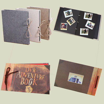 Craft Paper Scrapbook Album Photo Organizer Ticket Stub Collect Book Tied Rope Z